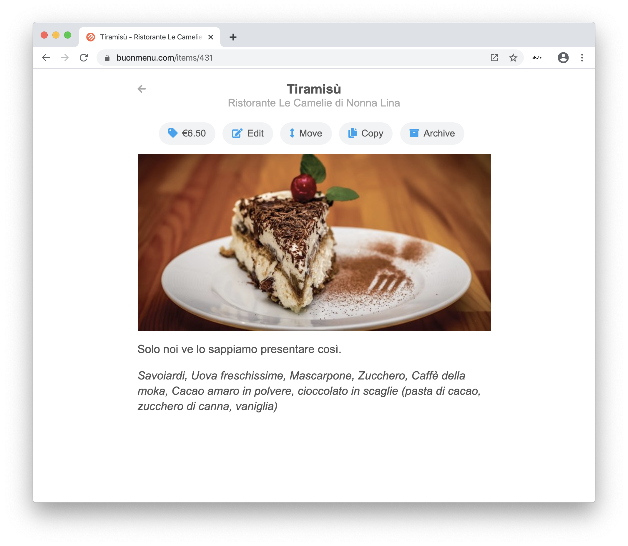 Online menu builder on desktop