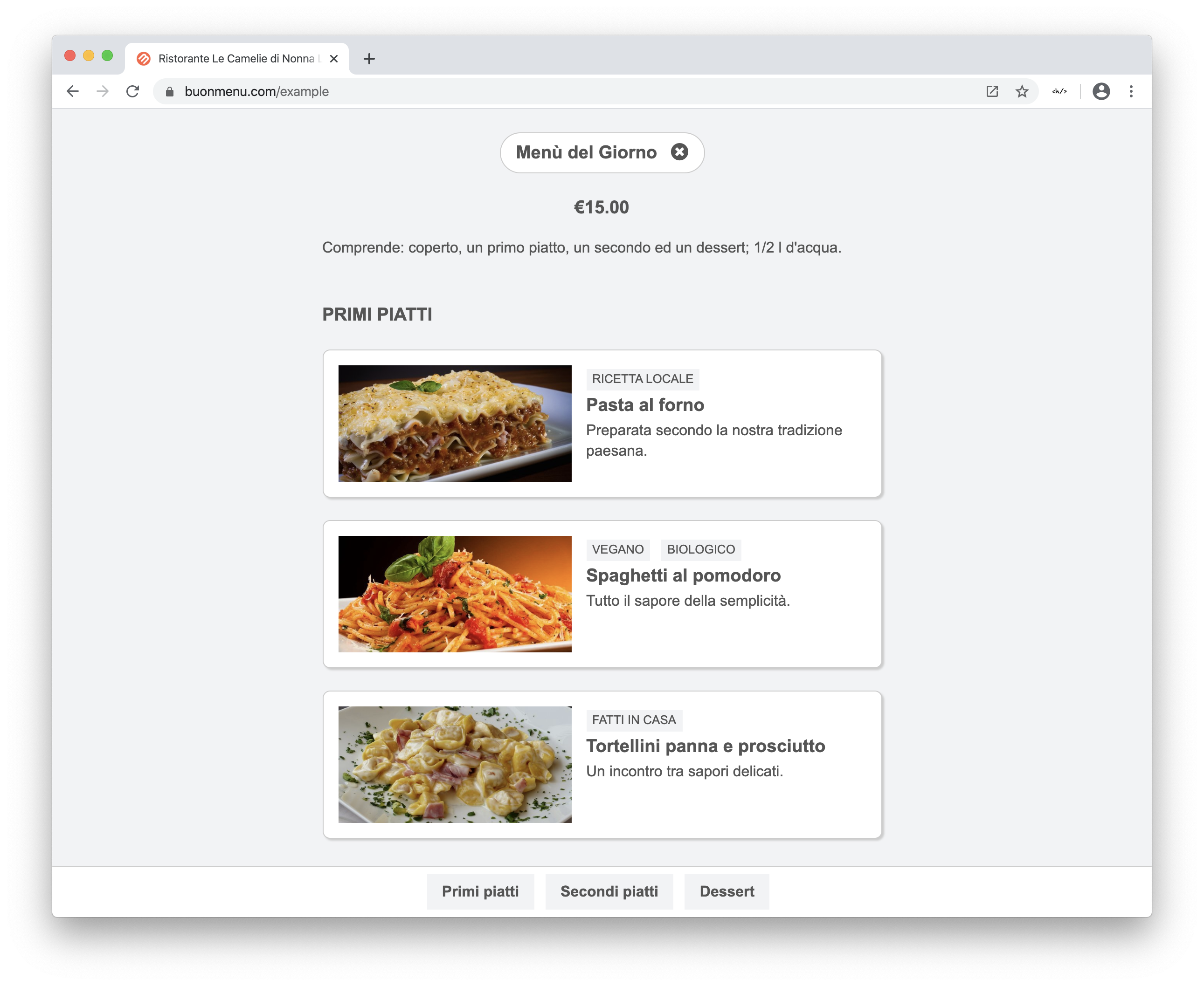 Online menu on Chrome