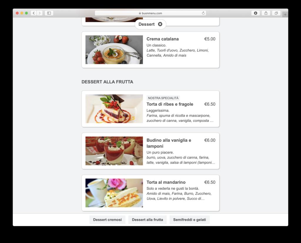 Online menu on desktop