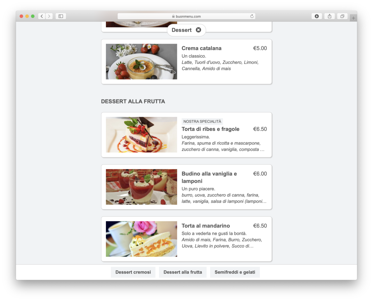 A simple website and online menu for restaurants