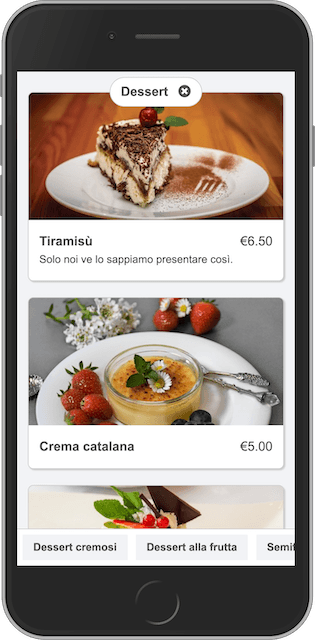 Online menu on smartphone