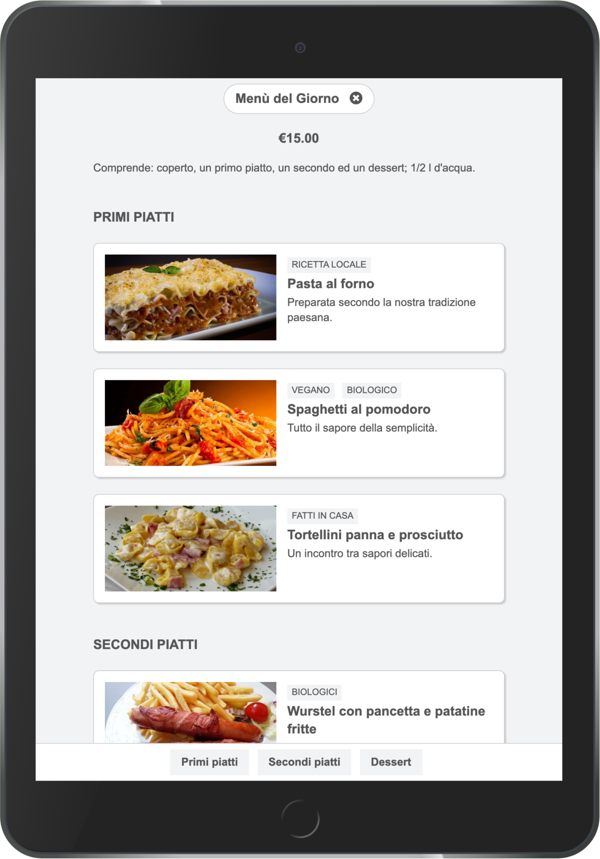 Online menu on tablet
