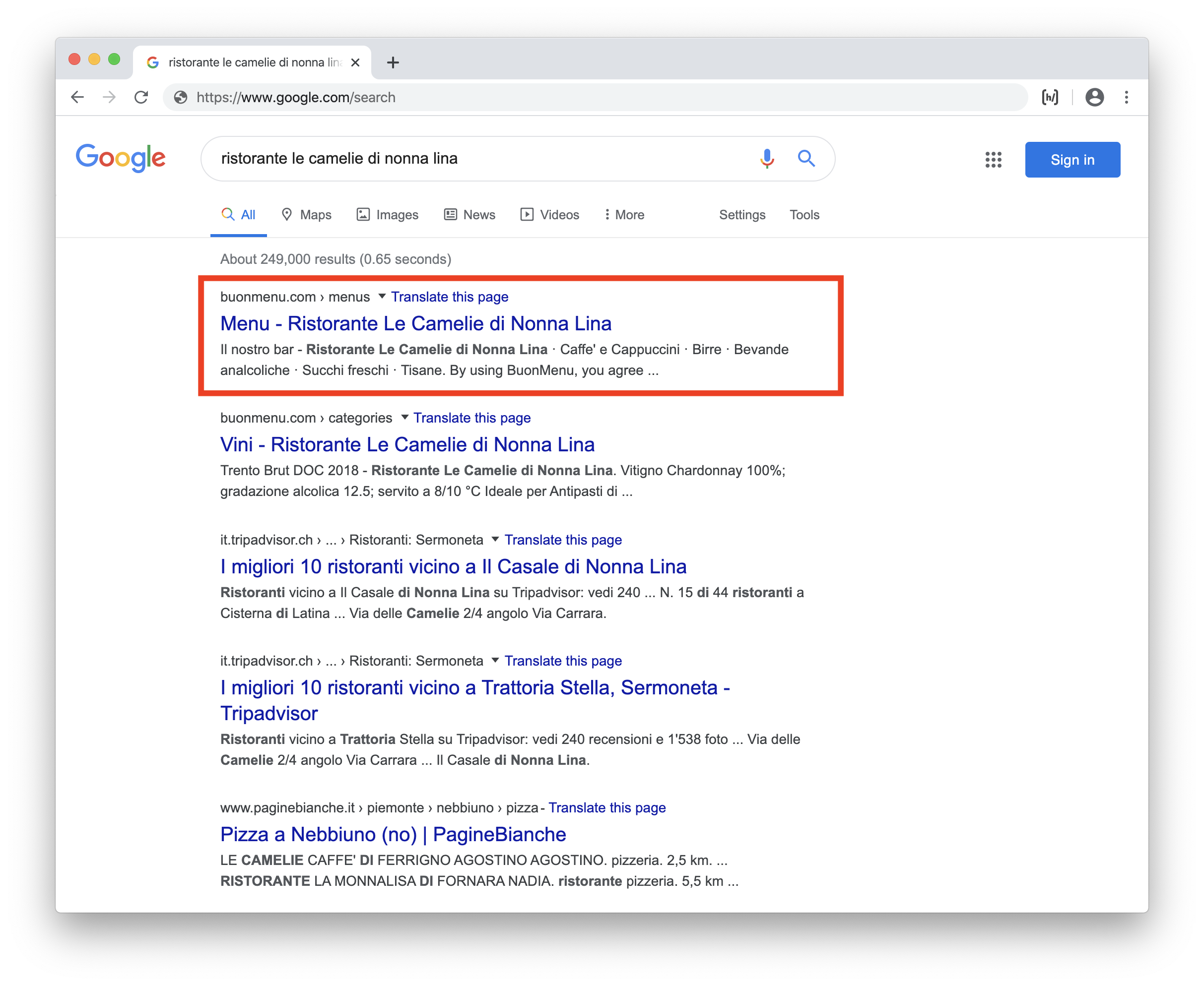 Restaurant menu in search results