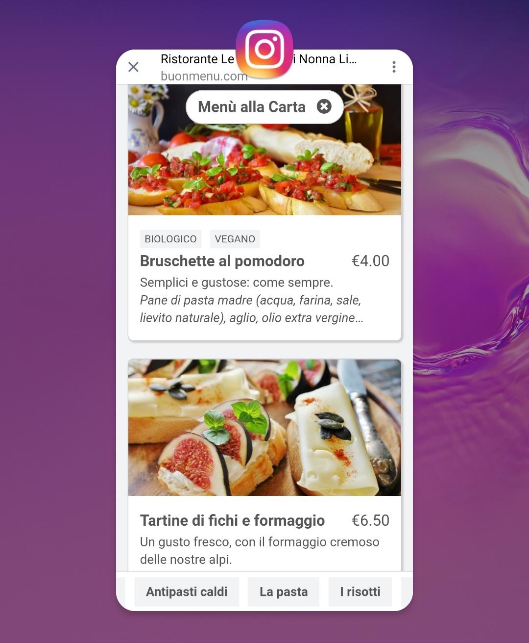 Restaurant menu on Instagram
