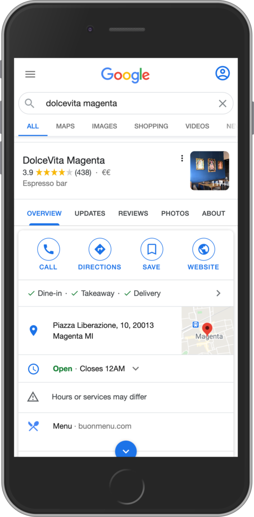 Restaurant with menu link on Google
