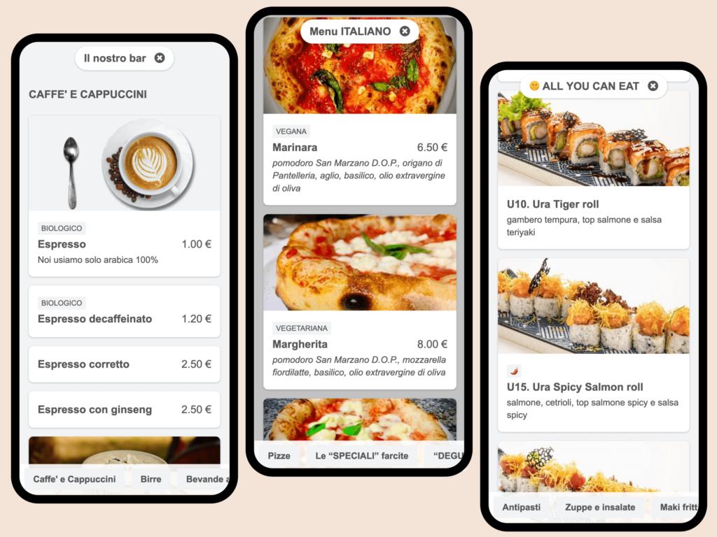 Digital menu examples: bar, pizzeria, sushi