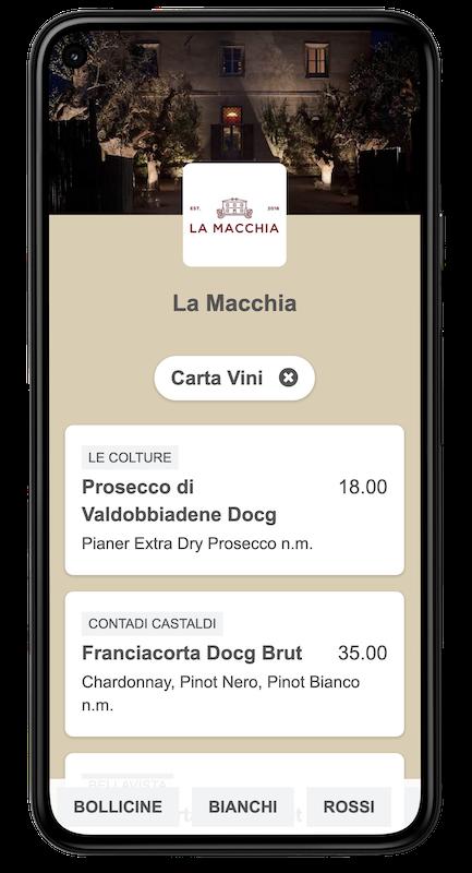 Menu on smartphone example (wine chart)