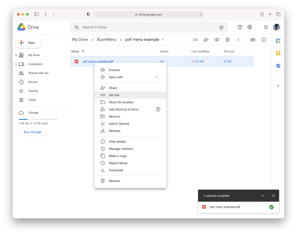 Share file with Google Drive