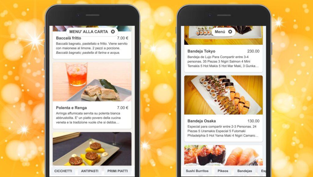 Sparkling digital menus