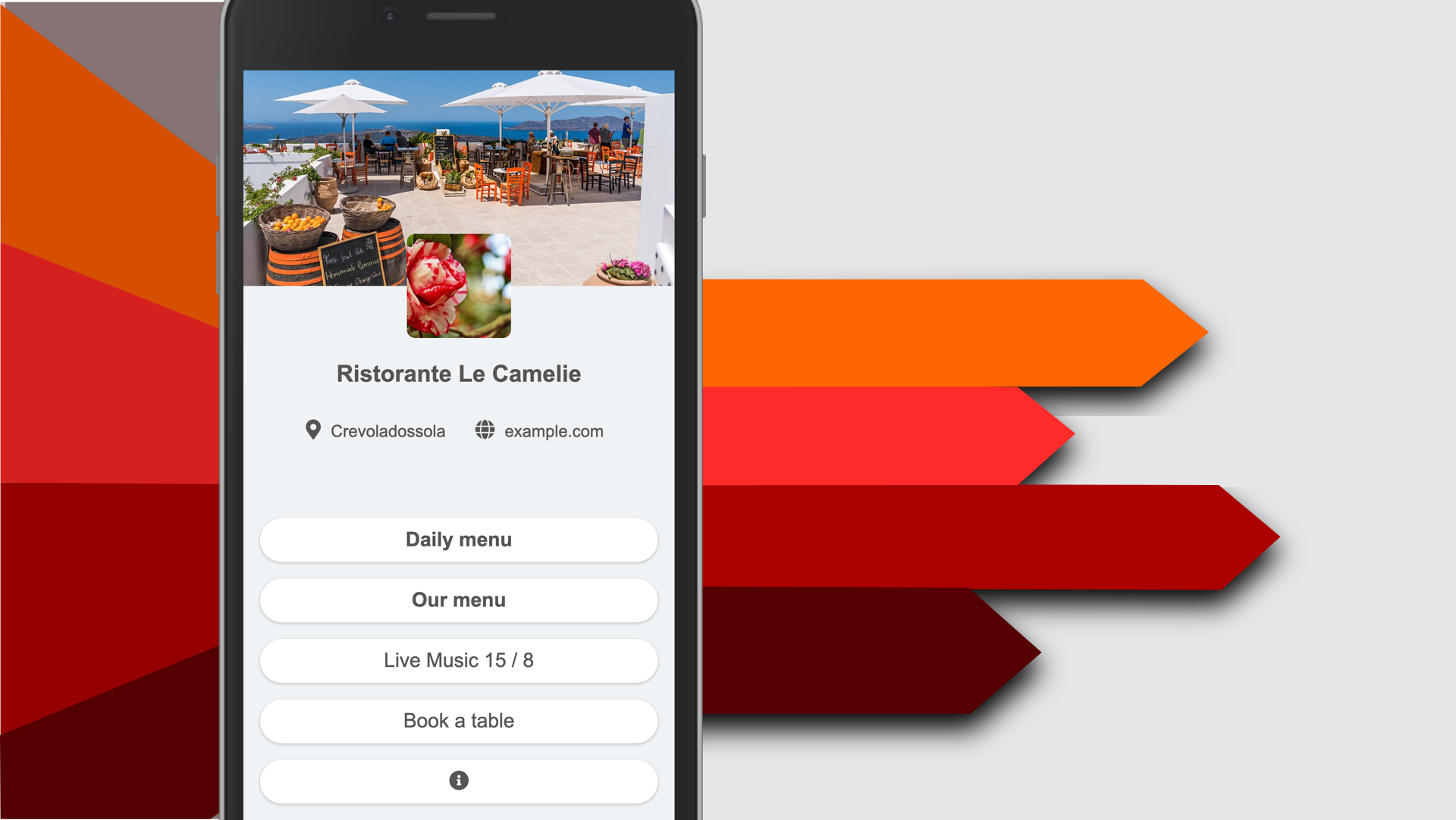 Digital menu with links and arrows