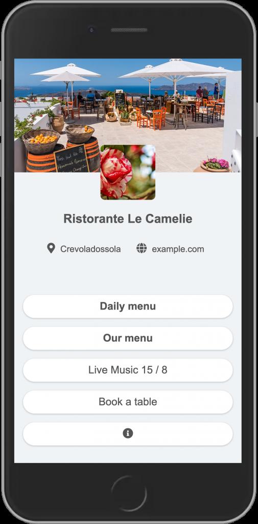 Digital menu with useful links