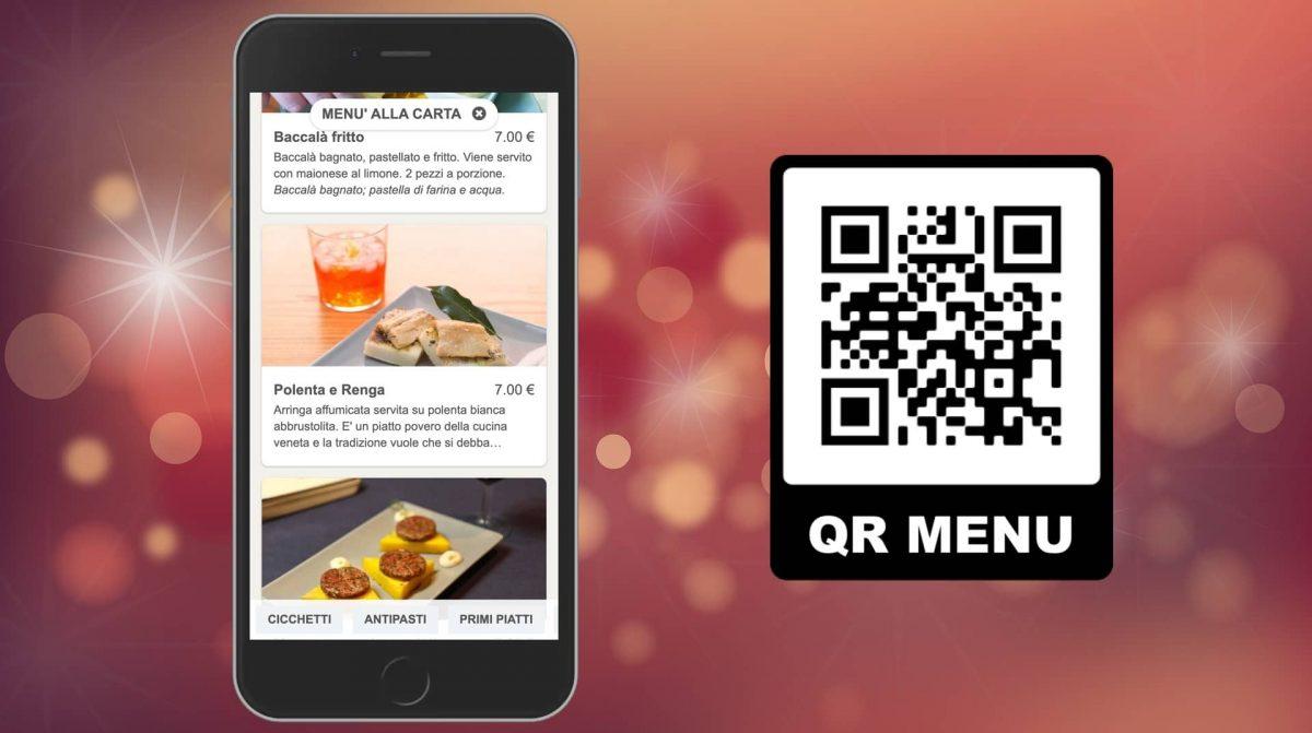 QR code and digital menu on smartphone